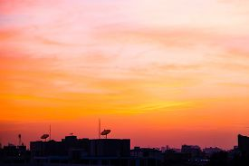 Silhouette City Building Sunset Colorful Sky With Cloud