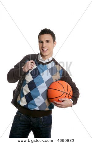 Happy Young Boy Student With Basketball Ball