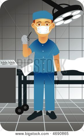 illustration of a surgeon in an operative room holding a pair of scissors. Visit our gallery for more professions. Vector EPS8. You can use any vector compatible software to open/modify/use the file. The different graphics are on separate layers so poster
