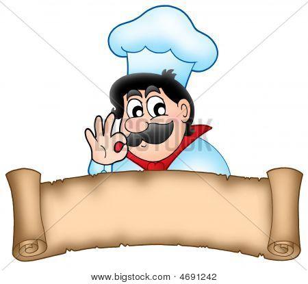 Banner con el Chef de dibujos animados