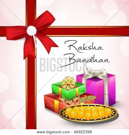 Indian festival Raksha Bandhan background with beautiful rakhi, gifts box and sweets.