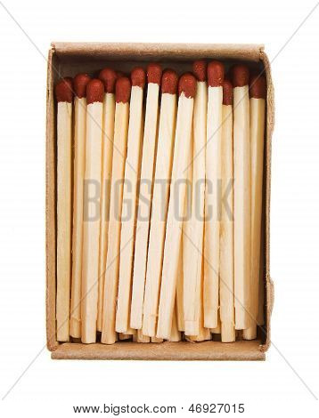 Matches In A Box Isolated On White Background