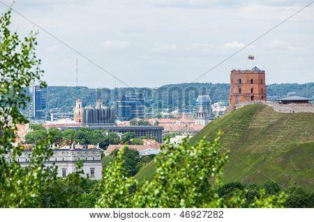 Panoramic view of Vilnius Gediminas castle