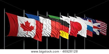Flags of G8 members on black background