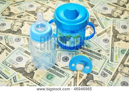 Blue Baby Items Over American $20 Bills