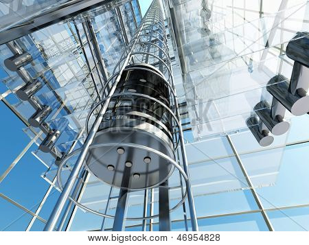 The interior of a modern building with an elevator.