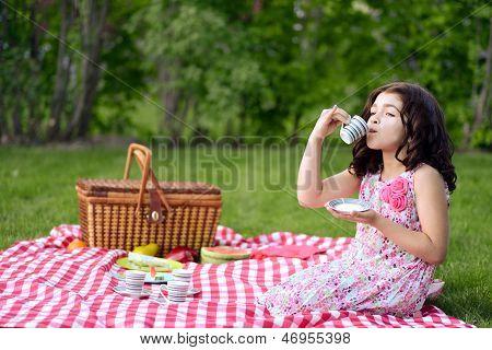 little girl picnic drinking tea