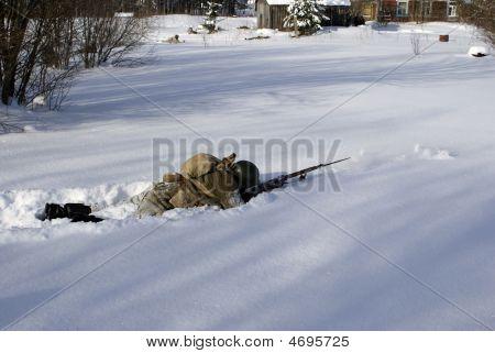 Soviet-finnish War 1939-1940:  Red Army Soldier Shoots