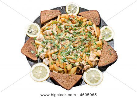 Hot Food With Meat And Vegetables