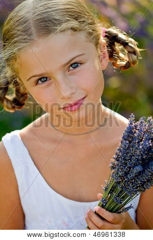 Lavender - lovely girl with bunch of lavender flowers