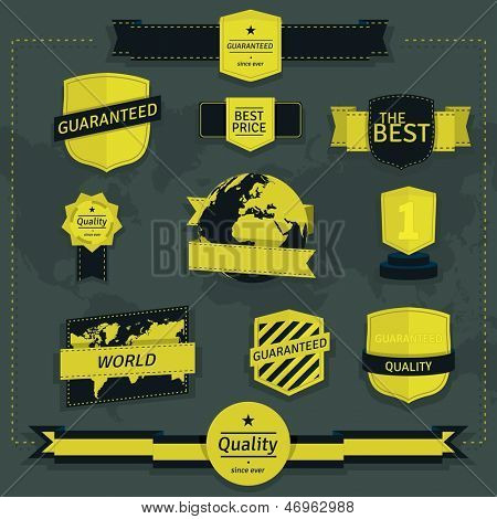 Set of vintage labels and badges in yellow and dark blue color.