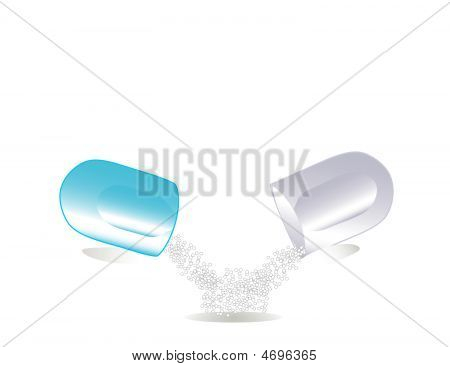 Vector illustration of a pill on white background. poster