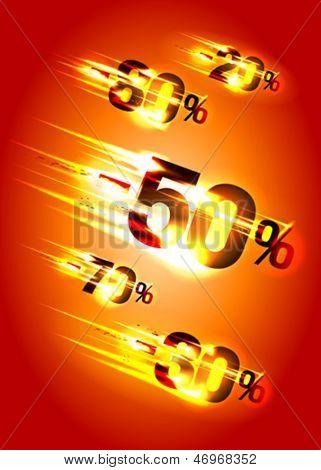 Meteor rain discounts, sale background. Eps10 Vector.
