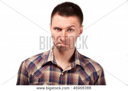 Man in a plaid shirt with funny face expressions