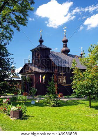 church the world's only Catholic parish neounicka Byzantine-Slavic rite in Kostom?oty in Polesia in Poland Parish of St. Nikita in Kostom?oty poster