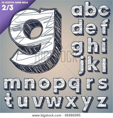 Sketch alphabet. Vector illustration of hand drawing font. Sans lower case letters
