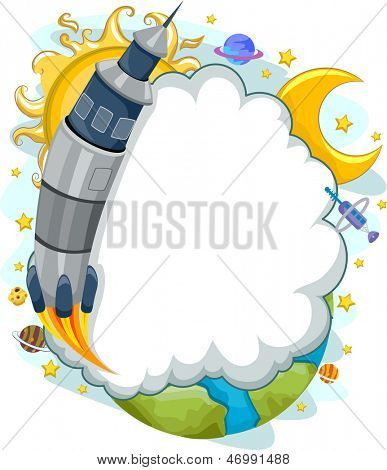 Background Illustration of a Rocket Launch to Space with Cloud Frame