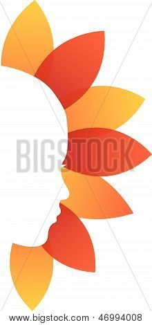 Lady's face with orange and red leaves-beauty logo concept