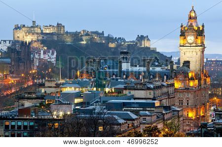 Edinburgh Cityscape from Calton Hill at dusk Scotland UK