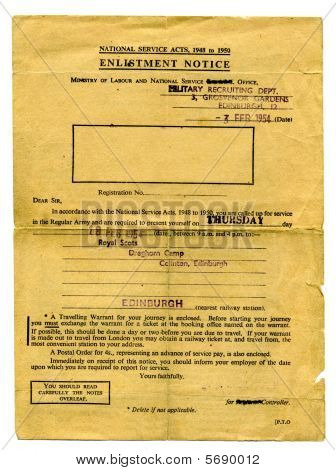 Old 1950's British army original National Service enlistment notice form, with conscripts name removed for privacy reasons poster