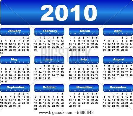 Blue calendar for 2010 year