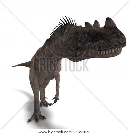 3D rendering of a Dinosaur Ceratosaurus with clipping path and shadow over white poster