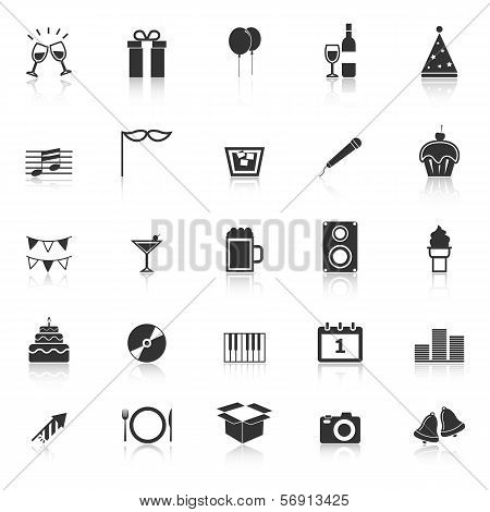 New Year Icons With Reflect On White Background