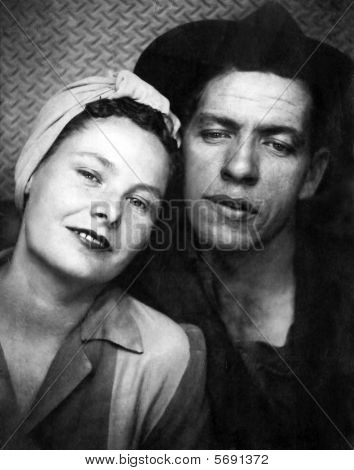 Genuine Work War 2 Era Factory Worker Couple Portrait