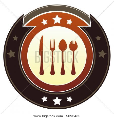 Eating utensils imperial button