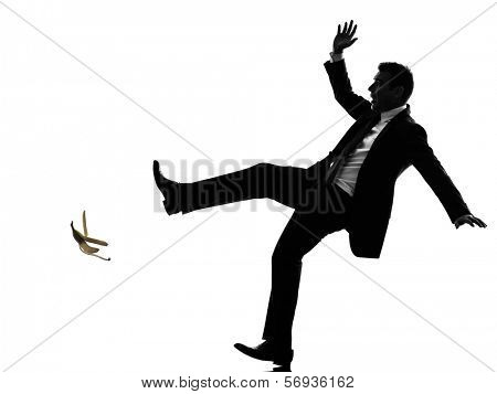 one caucasian unlucky carefree business man in silhouette  on white background