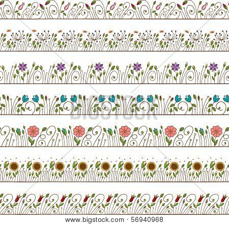 Seamless Doodle Border and Frame Elements Floral