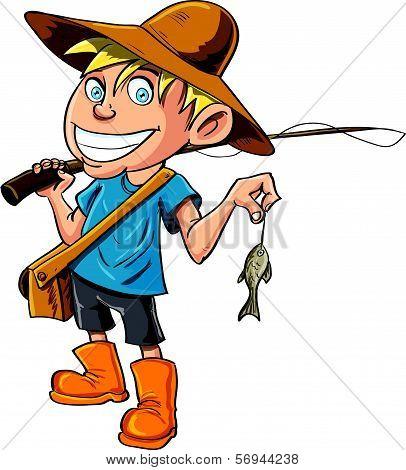 Cartoon fisherman with a tiny fish