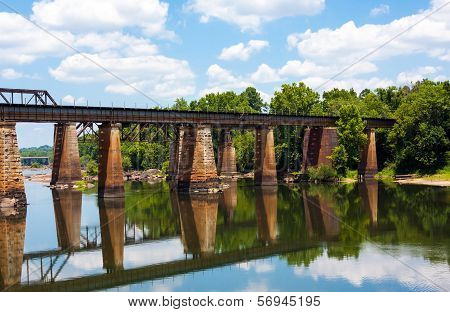 Train Bridge Over A River
