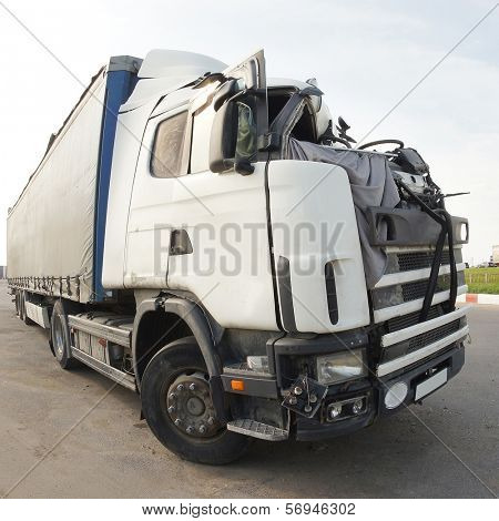The truck after the road accident