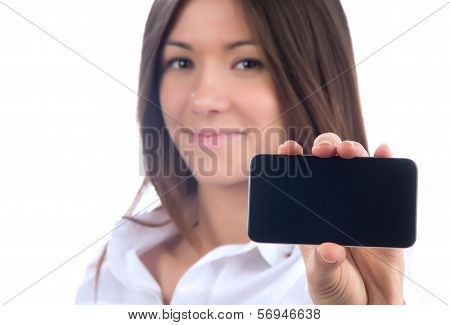 Showing Display Of Her New Touch Mobile Cell Phone