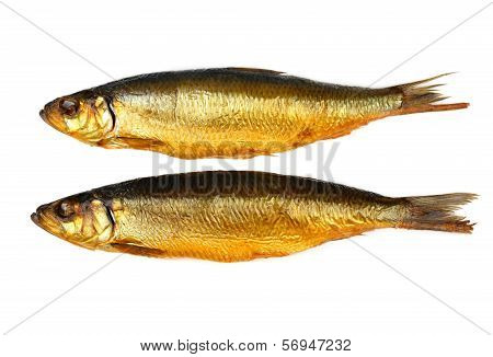 Two Kippers, Smoked Herring On White Background