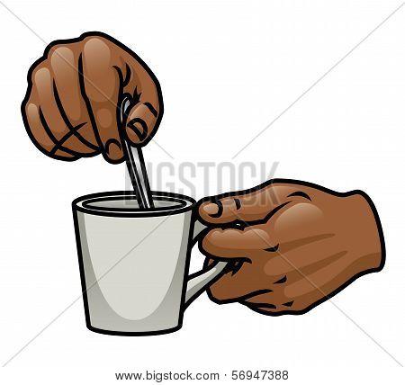Hands Stirring Drink