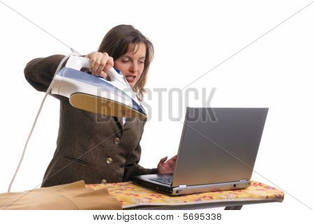 Hysteric Business Woman Working - Isolated
