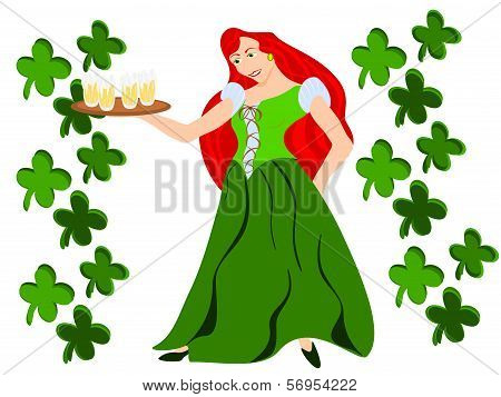 irish red hair female barmaid with clover