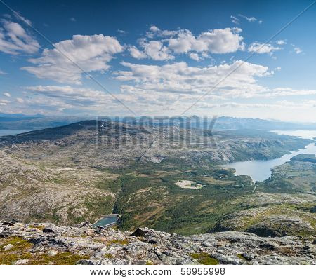 View With Fjord And Lake From A Peak In Northern Norway