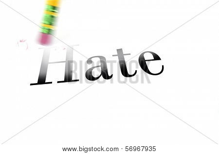 Person using a pencil eraser to erase Hate from their life so they can start anew
