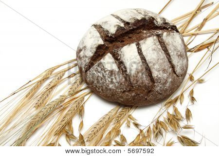Round bread with ears of a rye and an oats poster