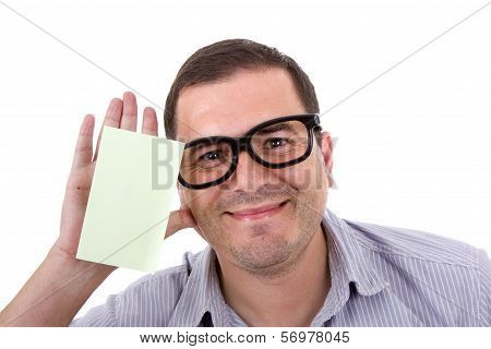 Young Man With Glasses, Isolated On White
