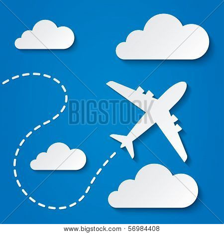 Paper flying plane in clouds. Travel background.