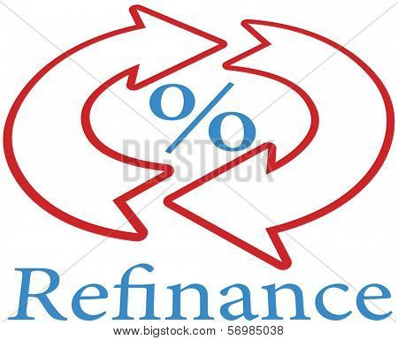 Refinance home mortgage to lower percent rate icon poster