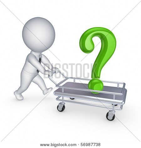 3d person with query mark on a pushcart.