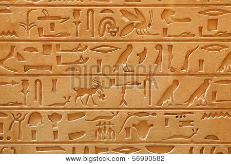 Old Egyptian pictorial writing on a sandstone