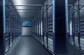 Data Center Alley with Large Wall TV. Hosting Technology Concept Illustration. poster
