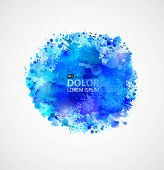 Blue watercolor blot  poster