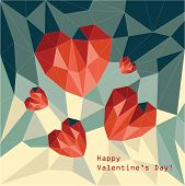 polygonal red  hearts on a geometric background poster
